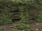 The moss-covered faces on the path to Goa Gajah from our carving area in Bedulu.