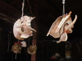 Some masks that are being re-conditioned and re-painted. Left is a comic witch mask, right is a Durga or Rangda.