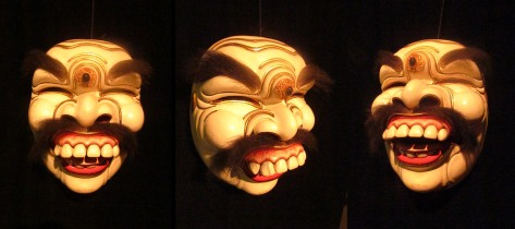 The Sidha Karya mask. This set of three photos shows how an excellent mask can provide a wealth of expression from all angles, even when it is stationary.