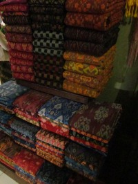 An array of colors in the woven fabrics available at the market in Klungkung.