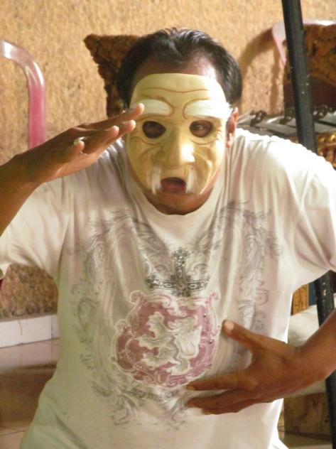 My teacher sporting the mask he helped me create :)
