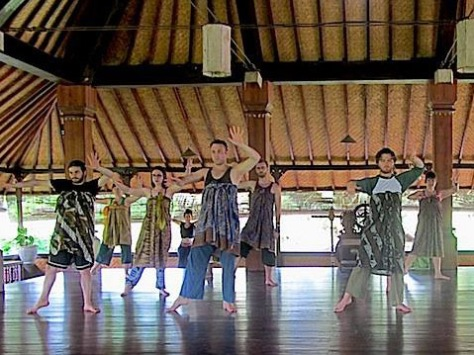 In dance class, we tied our sarongs high to simulate the costume we would eventually wear.