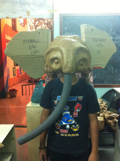 Adding some cardboard ears, an ethafoam trunk, and a live person reveals the identity!