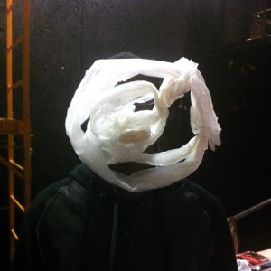 An experimental mask made by Edwin.  It's made of wax paper and captures the movement and essence of a different material.