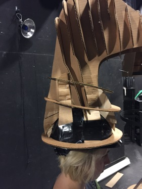 Mask attached to helmet.