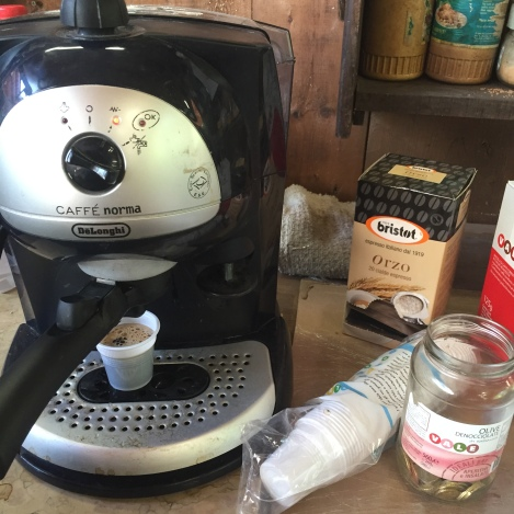 The best sort of coffee machine for the studio. Though I dislike orzo as a coffee alternative. ;P